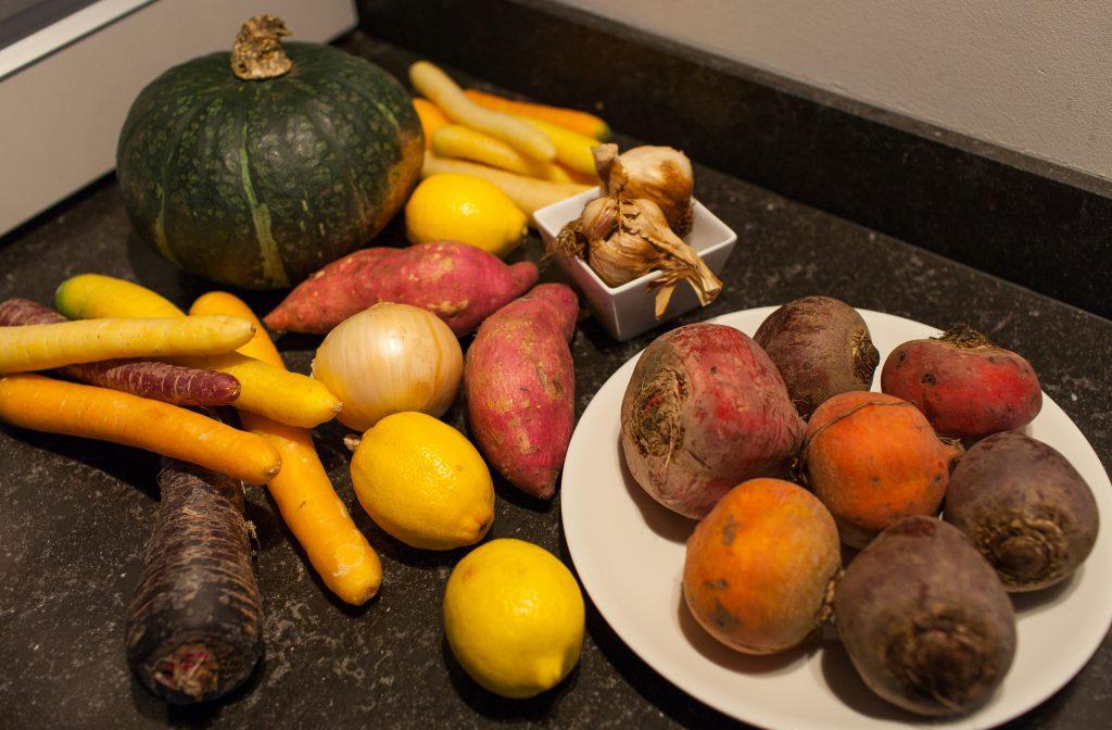 seizoensgroenten herfst pompoen bieten kip braadslede oven